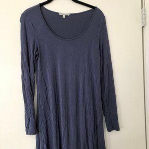 Blue Long Sleeved Flowy Dress